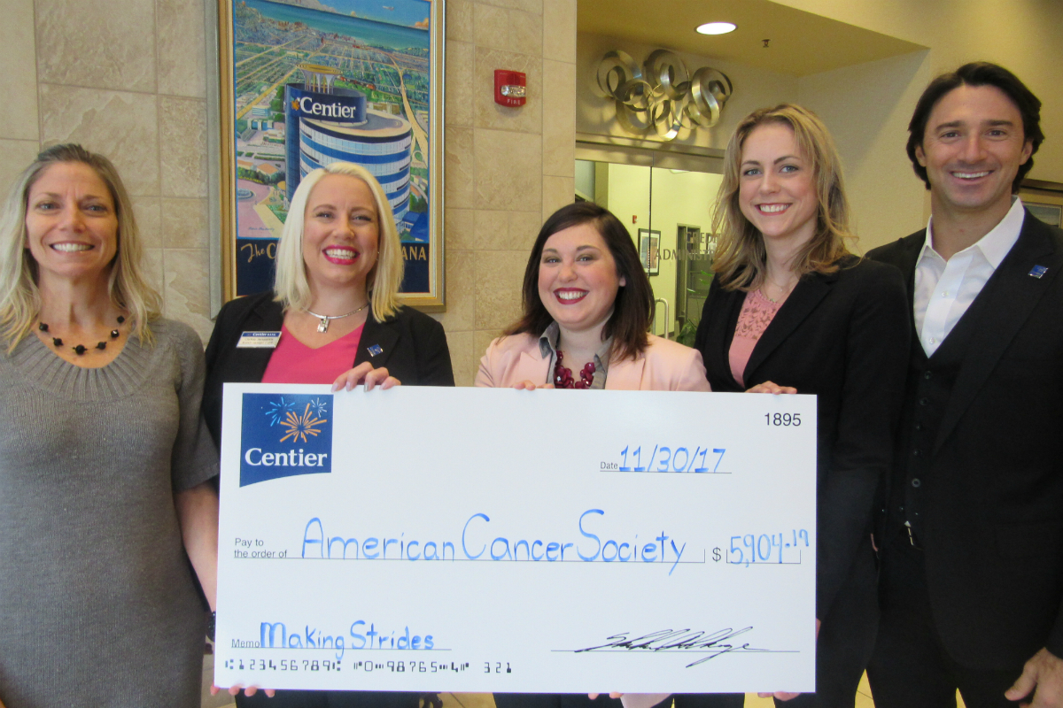 Centier Bank Associates Help Make Strides in the Battle Against Breast Cancer with Donation to American Cancer Society