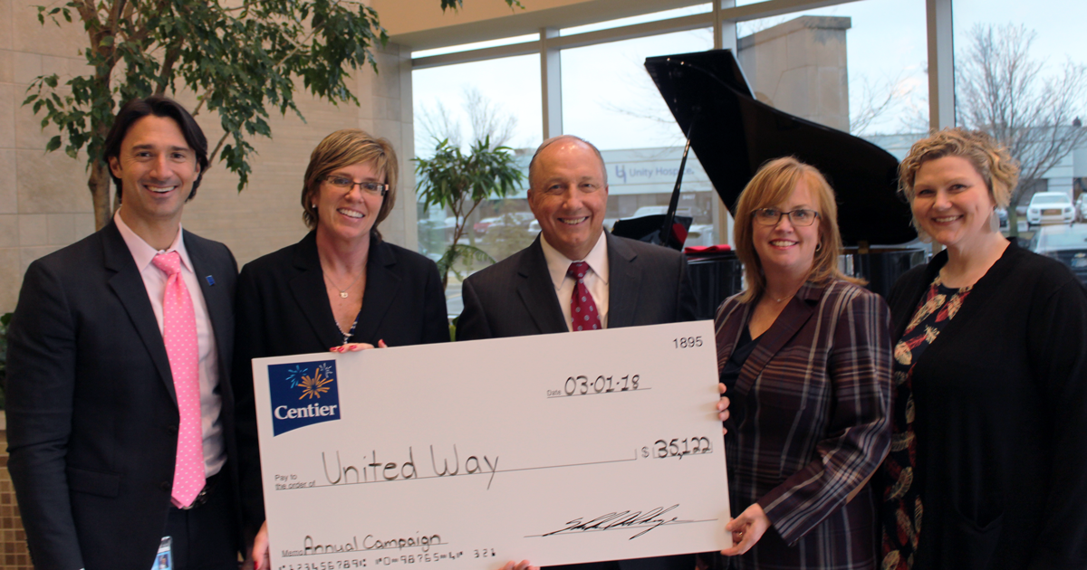 United Way Indiana Donation from Centier Bank